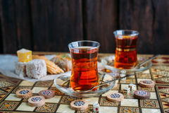 Turkish sweets and tea Royalty Free Stock Images
