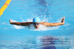 Turkish Swimming Championship. ISTANBUL, TURKEY - AUGUST 16, 2015: Unidentified competitor swims at the Turkcell Turkish Swimming Championship in Enka Sports Stock Image