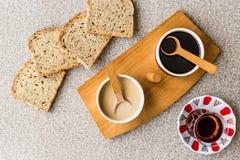 Turkish Tahin Pekmez / Tahini and Molasses with tea Stock Photo