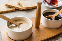 Turkish Tahin Pekmez / Tahini and Molasses with tea Royalty Free Stock Photos
