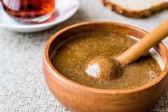 Turkish Tahin Pekmez / Tahini and Molasses with tea Royalty Free Stock Photo