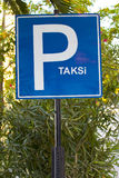 Turkish Taxi Park sign on the Green Area in izmir Royalty Free Stock Photos