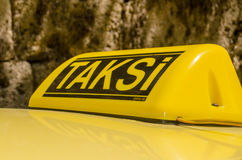 Turkish Taxi Sign. Yellow roof sign for a taxi in the Turkish city of Antalya Stock Photo