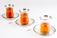 Turkish tea. A three glasses of Turkish traditional tea Stock Photo
