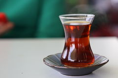 Turkish tea with authentic glass cup Stock Photos