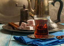Turkish tea with authentic glass cup Stock Photo