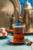 Turkish tea with authentic glass cup Stock Images