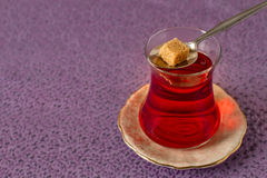 Turkish tea with authentic glass cup Royalty Free Stock Photo