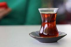 Turkish tea with authentic glass cup. Turkish tea table Royalty Free Stock Photos