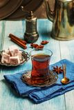 Turkish tea with authentic glass cup Royalty Free Stock Images