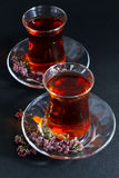 Turkish tea on black. Turkish Traditional Tea in glasses on black Stock Photography