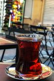 Turkish tea with blur background in Istanbul Stock Photo