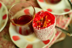 Turkish tea with candy. Royalty Free Stock Photography