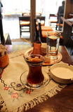 Turkish tea and coffee on the table. With traditional tablecloth Stock Photos