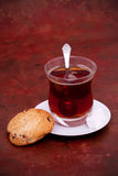 Turkish tea and cookies. Glass of Turkish tea and cookie Royalty Free Stock Photos