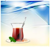 Turkish tea cup with black tea, silver spoon and mint on blue waves background. Tea illustration for advertising royalty free illustration