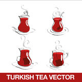 Turkish Tea Cup. Turkish tea glasses drawn in four different ways Stock Photo