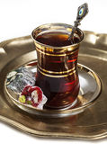Turkish tea and delights Royalty Free Stock Photos