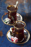 Turkish tea and delights Stock Image