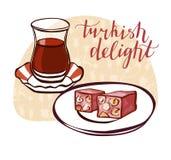 Turkish tea and dessert vector illustration Royalty Free Stock Photos