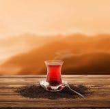 Turkish tea and enjoy the sunset (clipping path) Stock Photos