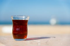 Turkish tea. In glass - defocused background Royalty Free Stock Photo