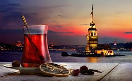 Turkish tea Maiden Tower. Turkish tea in the background of the maiden tower in Istanbul stock images