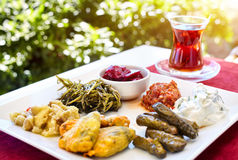 Turkish tea and meze in restaurant Royalty Free Stock Photos