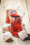 Turkish tea and oriental sweets Royalty Free Stock Photos