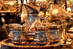 Turkish tea pot at Grand Bazaar, Istanbul. Royalty Free Stock Photography