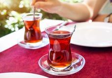Turkish tea in restaurant Royalty Free Stock Photos
