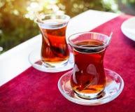 Turkish tea in restaurant Royalty Free Stock Image