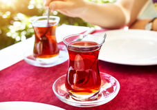 Turkish tea in restaurant Stock Photography
