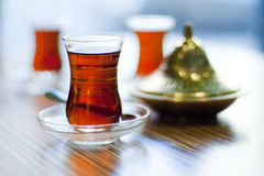 Turkish tea served in traditional style Royalty Free Stock Image