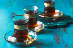 Turkish tea served in tulip shaped glass Stock Images