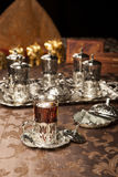 Turkish tea set. Turkish coffee set is an antique cups and ottman stuffs Stock Image