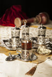 Turkish tea set. Turkish coffee set is an antique cups and ottman stuffs Royalty Free Stock Photos