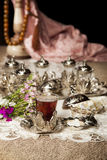Turkish tea set. Turkish coffee set is an antique cups and ottman stuffs Stock Images