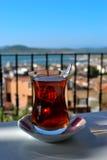 Turkish Tea. And sight on an balcon Royalty Free Stock Image