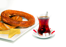 Turkish tea and simit Royalty Free Stock Photo
