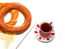 Turkish tea and simit Royalty Free Stock Image