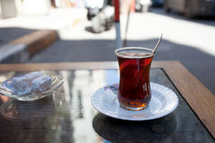 Turkish tea on table Royalty Free Stock Images