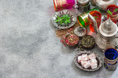 Turkish tea table with delights. Oriental hospitality Stock Image