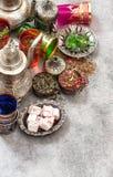 Turkish tea table delights Ramadan kareem Eid mubarak Royalty Free Stock Photography