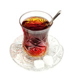 Turkish tea with traditional crystal glass Royalty Free Stock Photos
