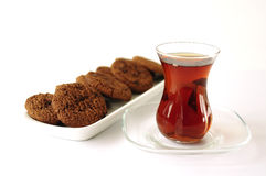 Turkish tea in traditional glass with cookie Stock Image