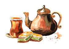 Turkish tea in traditional glass with copper tea pot and baklava. Watercolor hand drawn illustration, isolated on white background stock illustration
