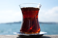 Turkish tea in traditional glass cup. Istanbul Turkey Royalty Free Stock Photo