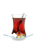 Turkish tea in traditional glass isolated on white background. Royalty Free Stock Photography