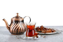 Turkish tea in traditional glass and metal teapot stock images